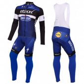 2016 Etixx Quick Step Long Sleeve Cycling Jersey And Bib Pants Kit Blue And Black