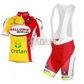 Wallonie Bruxelles Cycling Jersey Kit Short Sleeve 2013 yellow and red