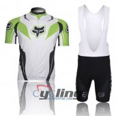 2013 Fox Cycling Jersey And Bib Shorts Kit White And Green