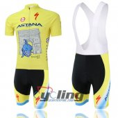 2014 Astana Cycling Jersey and Bib Shorts Kit Yellow