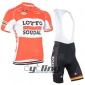 2015 Lotto Soudal Cycling Jersey And Bib Shorts Kit Orange And W