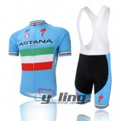 2016 Astana Cycling Jersey and Bib Shorts Kit Sky Blue