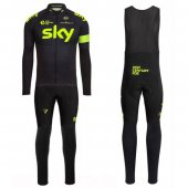 2016 Sky Long Sleeve Cycling Jersey And Bib Pants Kit Green And Black