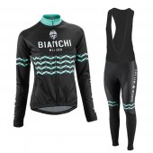 2016 Women Bianchi Long Sleeve Cycling Jersey And Bib Pants Kit Black And Green