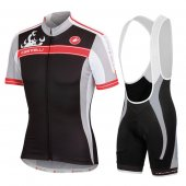 2016 Women Castelli Cycling Jersey And Bib Shorts Kit Black And Red