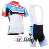 2014 Cube Cycling Jersey And Bib Shorts Kit White And Sky Blue