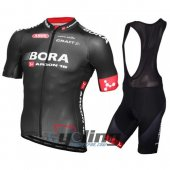 2016 Bora Black Cycling Jersey and Bib Shorts Kit Black