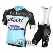 2016 Etixx Quick step Cycling Jersey And Bib Shorts Kit Black And Sky Blue