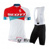 2016 Women Scott Cycling Jersey And Bib Shorts Kit Red And White