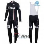 2016 Italy Long Sleeve Cycling Jersey And Bib Pants Kit White An