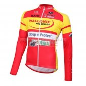 Wallonie Bruxelles Cycling Jersey Kit Long Sleeve 2016 yellow and red