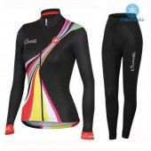 2016 Women Castelli Long Sleeve Cycling Jersey And Bib Pants Kit Black And Red