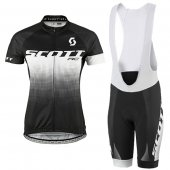 2016 Women Scott Cycling Jersey And Bib Shorts Kit Black And White