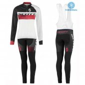 2016 Women Scott Long Sleeve Cycling Jersey And Bib Pants Kit White And Black