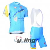 2014 Astana Cycling Jersey and Bib Shorts Kit Blue Yellow