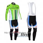 2014 Cannondale Garmin Long Sleeve Cycling Jersey And Bib Pants Kits Green And White