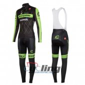 2016 Cannondale Garmin Long Sleeve Cycling Jersey And Bib Pants Kits Black And Green