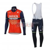 Bahrain Merida Cycling Jersey Kit Long Sleeve 2017 red