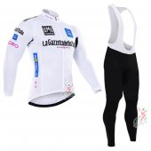2016 Tour De Italia Long Sleeve Cycling Jersey And Bib Pants Kit White And Blue