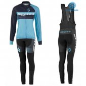 2016 Women Scott Long Sleeve Cycling Jersey And Bib Pants Kit Blue And Black