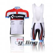 2012 Cube Cycling Jersey And Bib Shorts Kit White And Red