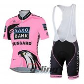 2015 Women Saxo Bank Cycling Jersey And Bib Shorts Kit Pink And