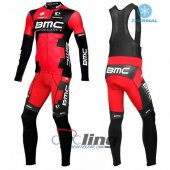 2016 BMC Long Sleeve Cycling Jersey And Bib Pants Kit Black And Red