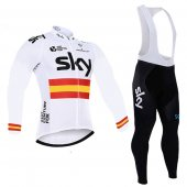2016 Sky Long Sleeve Cycling Jersey And Bib Pants Kit White And Yellow