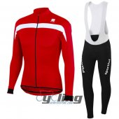 2016 Sportful Long Sleeve Cycling Jersey And Bib Pants Kit Red And White