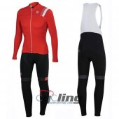 2016 Sportful Long Sleeve Cycling Jersey And Bib Pants Kit White And Red