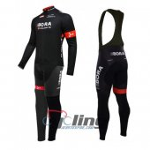 2016 Bora Argon Black Long Sleeve Cycling Jersey and Bib Pants Kits Black
