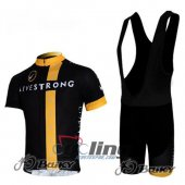 2011 LiveStrong Cycling Jersey And Bib Shorts Kit Black And Yell