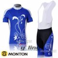 2011 Women Monton Cycling Jersey And Bib Shorts Kit Blue And Whi