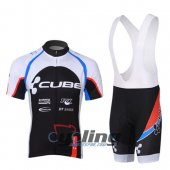 2013 Cube Cycling Jersey And Bib Shorts Kit White And Black