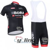 2015 Bora Black Cycling Jersey and Bib Shorts Kit Black