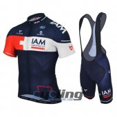2016 IAM Cycling Jersey And Bib Shorts KitWhite And Blue