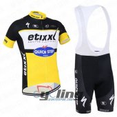 2016 Etixx Quick step Cycling Jersey And Bib Shorts Kit Black And Yellow