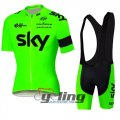 2016 Sky Cycling Jersey And Bib Shorts Kit Green