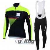 2016 Sportful Long Sleeve Cycling Jersey And Bib Pants Kit Green And Black
