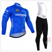 2016 Tour De Italia Long Sleeve Cycling Jersey And Bib Pants Kit Blue And White