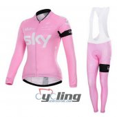2015 Women Sky Long Sleeve Cycling Jersey And Bib Pants Kits sax