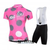2015 Women Nalini Cycling Jersey And Bib Shorts Kit Pink And Gra