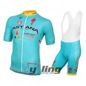 2016 Astana Cycling Jersey and Bib Shorts Kit Sky Blue Yellow