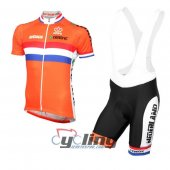 2016 Netherlands Cycling Jersey And Bib Shorts Kit White And Ora