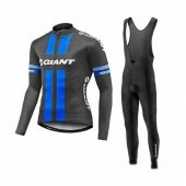 2017 Giant Long Sleeve Cycling Jersey and Bib Pants Kit blue and black