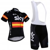 2016 Sky Cycling Jersey And Bib Shorts Kit Black And Yellow