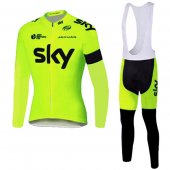 2016 Sky Long Sleeve Cycling Jersey And Bib Pants Kit Yellow And Black