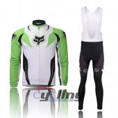 2013 Fox Long Sleeve Cycling Jersey And Bib Pants Kits White And