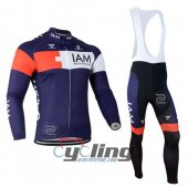 2015 IAM Long Sleeve Cycling Jersey And Bib Pants Kits White And
